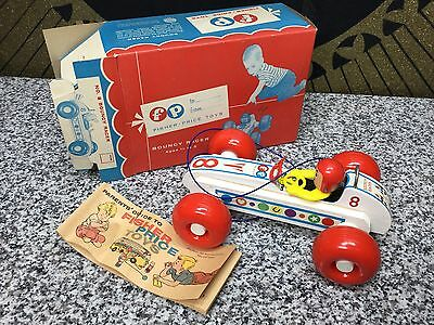 Rare NOS MINT Vintage Fisher Price Bouncy Racer Car MIB Antique NRFB Pull Toy