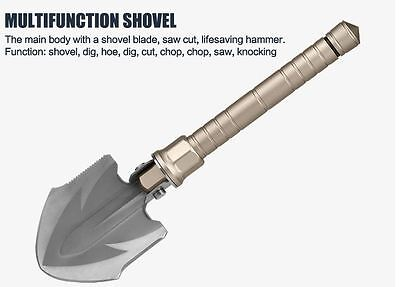 Outdoor Camping Steel Shovel Tool Multi Function Folding Survival Military Spade