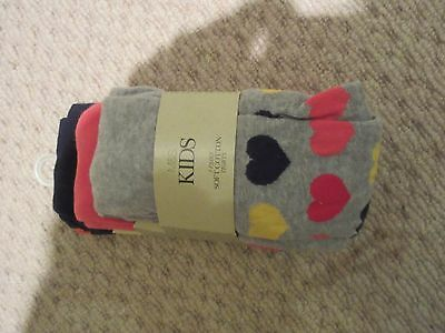 Girls 3 - 4 Years coral mix 3 x pairs soft cotton M&S tights BNWT
