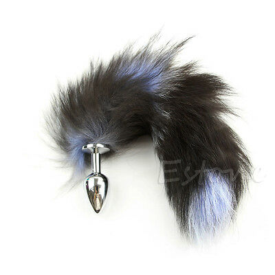 CollarCollar blue black mix tail faux fur plug fetish cosplay fox kitten gear