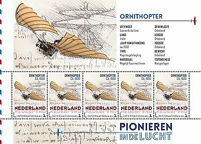 """NETHERLANDS 2015, Aviation history """"Ornithopter""""sheet of 5 stamps MNH(d)"""
