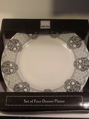222Fifth Skull Lace 4 New In Box Halloween Dinner Plates