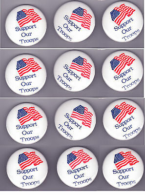 SUPPORT OUR TROOPS group of SIXTEEN cello pins (only 12 photoed)  American Flag