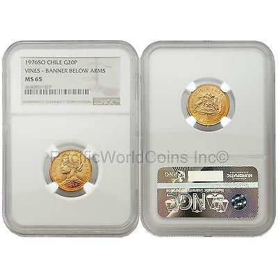 Chile 1976SO Vines Banner below Arms 20 Pesos Gold NGC MS65