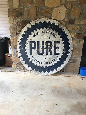 Vintage 6' Six Foot Double Sided Porcelain Pure Oil Sign Gas Oil