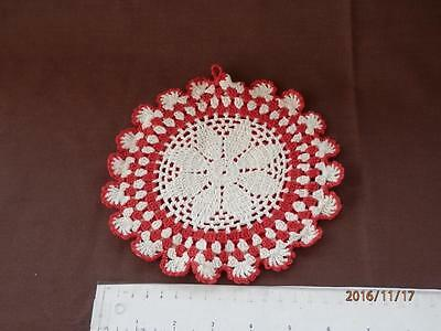 """VINTAGE  HAND CROCHET DOILY - 6.75"""" ROUND - RED, WHITE. with HANGAR"""