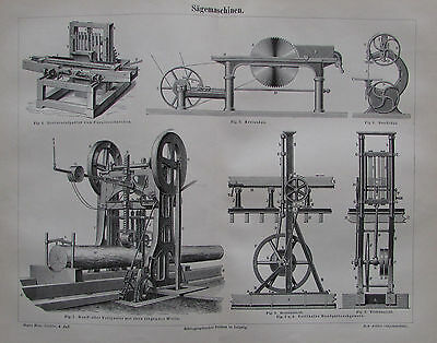 1889 SÄGEMASCHINEN alter Druck Antique Print Lithographie
