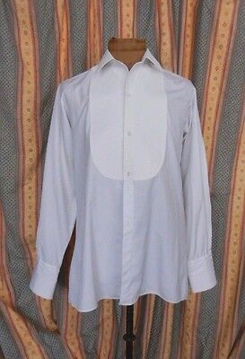 """vintage white cotton dress shirt with collar marcella front ex RAF officer 16"""""""