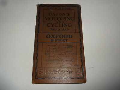 Early Bacon's Motoring & Cycling Road Map of Oxford District UK