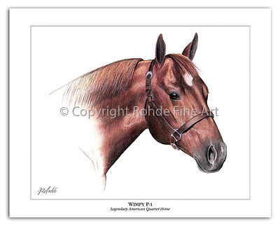 WIMPY P-1 - 1st REGISTERED AMERICAN QUARTER HORSE stallion ART painting Rohde