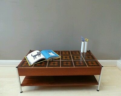 Vintage mid century 1960s Danish style teak & tile top coffee table DELIVERY