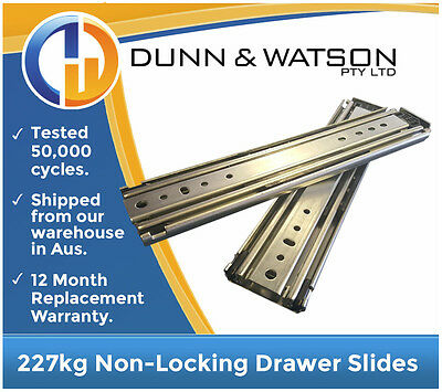 "1321mm 227kg Heavy Duty Drawer Slides / Fridge Runners - 500lb, 52"", Draw"