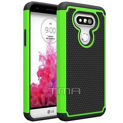 Fits LG G5 Case Shockproof Rugged Rubber Dual Layer Impact Hybrid Cover - Green