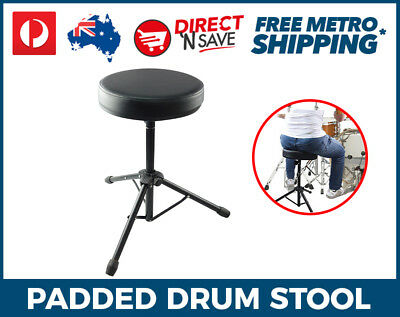 Drum Stool Throne Padded Height Adjustable Collapsible Legs Drummer DT-310