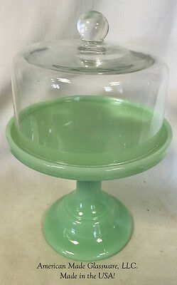 """Cake Plate Bakers Stand Pastry Tray Dome Jade Milk Green Glass Plain Simple 10"""""""