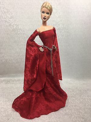 Red MEdieval Gown Set-for YOUr Barbie Model Muse Body