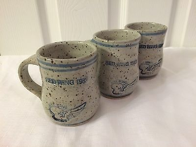 3 Red Wing Stoneware Cups Gray