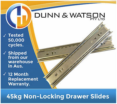 450mm 45kg Drawer Slides / Fridge Runners - Trailers, Caravan, Kitchen, Toolbox