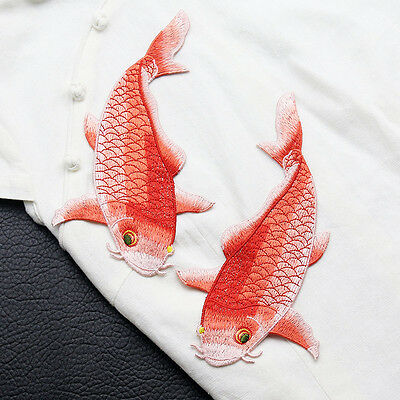 Big Carp Fish Applique Sew On Patch Embroidered Animal Jacket Dress Decor Cute