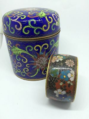 """ANTIQUE VINTAGE CHINESE floral CLOISONNE 3.5""""high pot with cover & napkin ring"""