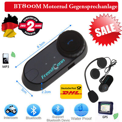800M Motorrad Bluetooth Helm GPS Intercom Interphone Headset Gegensprechanlage