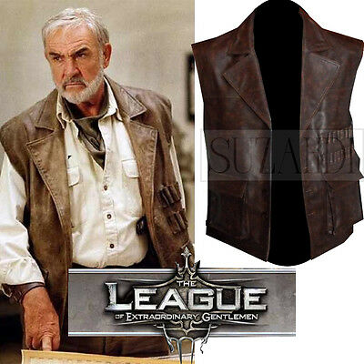 Men's Sean Connery Allan Quatermain Distressed Brown Real Leather Vintage Vest