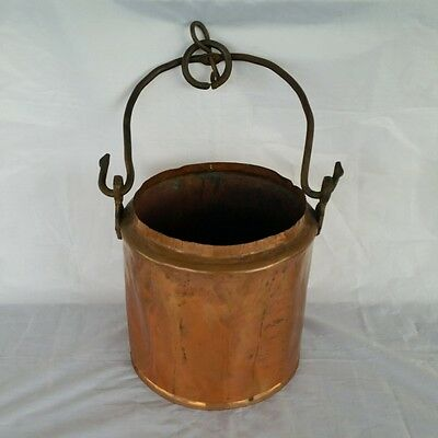 Antique Copper Cooking Pot With Handle Hand Made Rustic