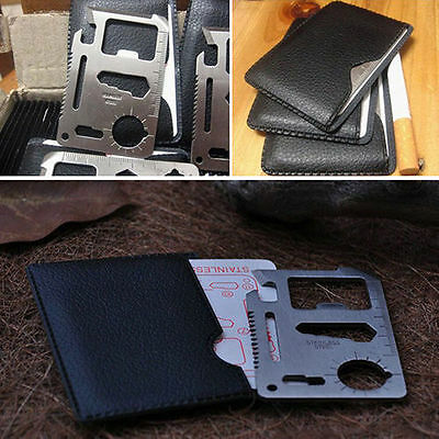 Multi 11 in 1 Outdoor Survival Camp Tool Credit Card Knife Bottle Opener Blade
