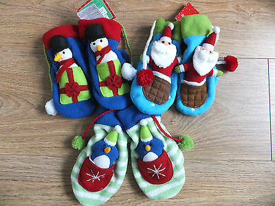 Boys & Girls Novelty Christmas Soft Fleece Mittens By Russ Berrie Gift Idea