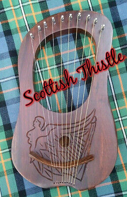 New Celtic Lyre Harp 10 Metal Strings Engraved Free Tuning Key & Case/Lyra Harp