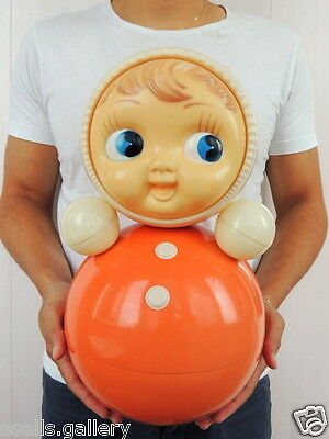 Huge Vintage Russian Nevalyashka Celluloid Plastic Roly Poly Toy Doll 40cm #4