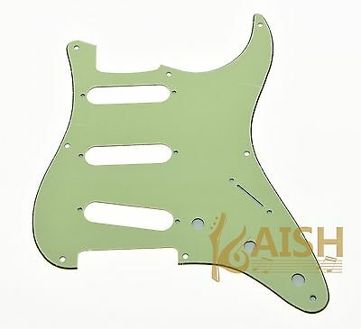 Single Mint Green 3 Ply 8 Hole Vintage Strat Pickguard  fits USA Fender