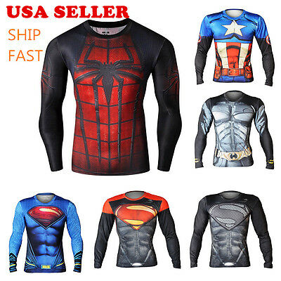 Men's Compression Marvel Superhero Tee T-Shirts Gym Sport Jersey Base Layer TOP