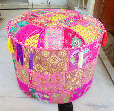 Indian Pouf Ottoman Footstool Vintage Ethnic Chair Moroccan Pouffe Bohemian Pink