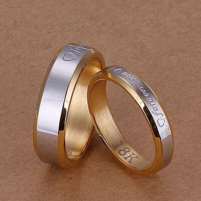 Couples Mens/Womens Forever Love Rings 18K Silver Steel Wedding Engagement Band