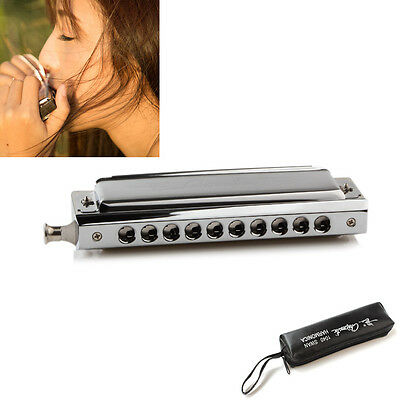 Chromatic Harmonica Metal 10 Agujero 40 Tono Llave de C Reed Wind Mouth
