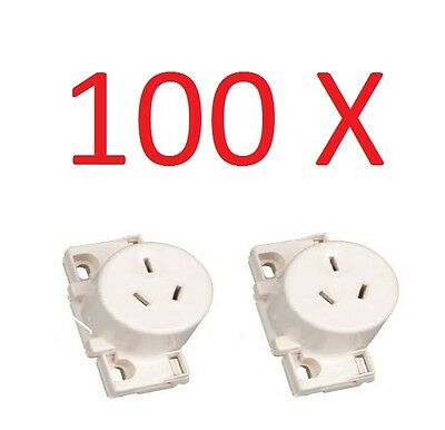 100 X Quick Connect Surface Socket, Plug base Single Outlet White Electrical