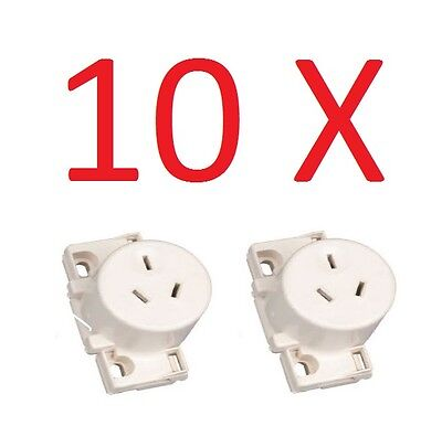 10 X Quick Connect Surface Socket, Plug base Single Outlet White Electrical