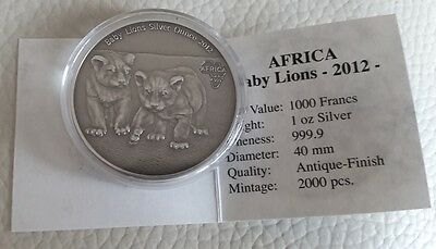 Congo 2012 Africa Series - 1000 Francs Baby Lions Silver Antique finish