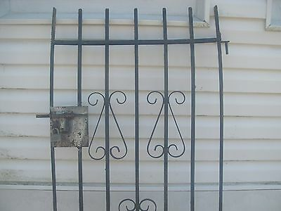 Antique Vintage Iron  Architectural Salvage Door 3 hinge, 2 lock bolt plates..