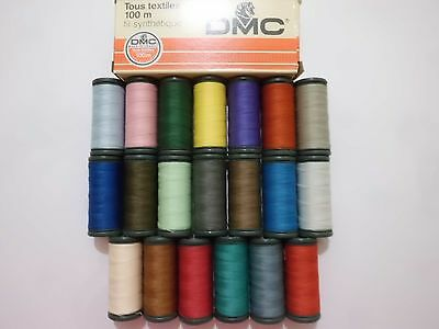 20 Bobines Fil A Coudre Polyester Dmc.100 Metres.broderie Machine Tous Textiles