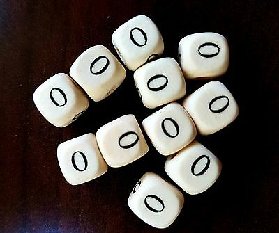 36 Dados letra O de madera color blanco 10 mm cubes dices letras letter O beads