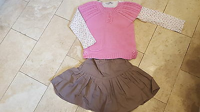 Girls 3 piece skirt and top set. Age 4-5. Pink & brown. George