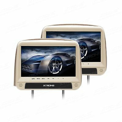 Par Reposacabezas Monitor 9 Dvd Hdmi Beige Xtrons Usb Sd Mp3 Divx Desmontable