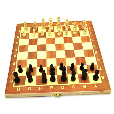 Wood Hand Crafted Brown Wooden International Chess Set Can Be Folded M1#