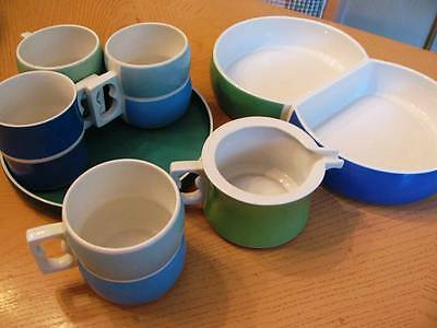 7 pc lot of Block Chromatics Blue/green china  creamer, coffee cups snack tray