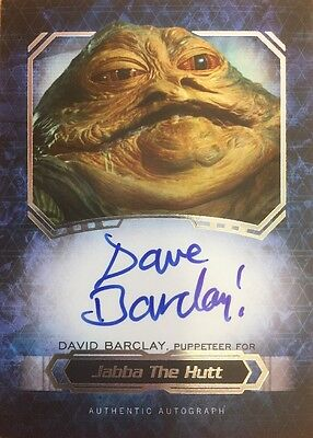 Star Wars Masterwork 2016 Dave Barclay Jabba The Hut Puppeteer Autograph Card