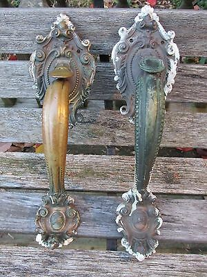 Victorian Style Fancy Brass Door Handles, Pair, Y & T, Yale & Towne MFG Co.