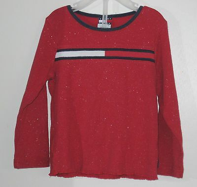TOMMY HILFIGER Girls Size 3T Red Glitter Long Sleeves Tops ~ Shirt