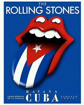 Official! Rolling Stones Havana Cuba Tongue Flag Lips Gig Poster Lithograph Flag